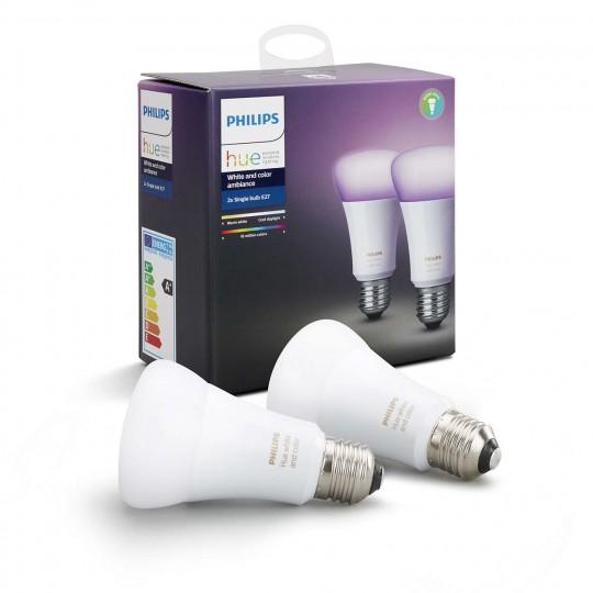 Pack 2 bombillas HUE E27 blanco y color