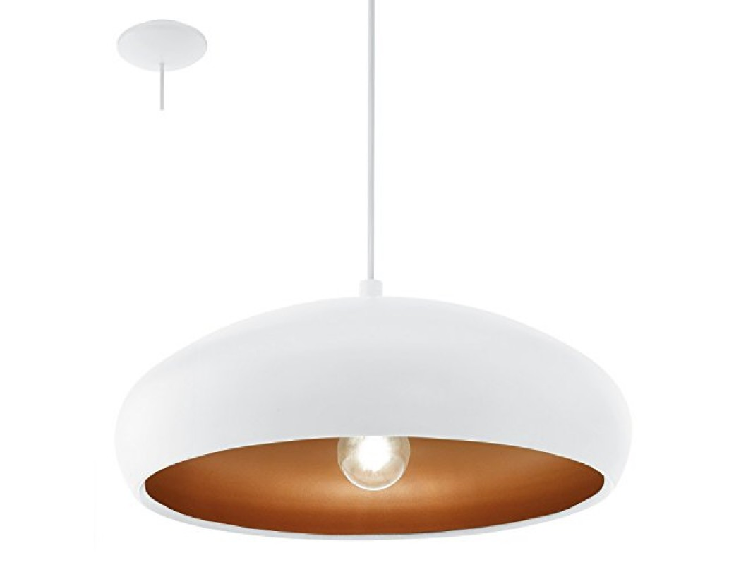 Juvi iluminaci n colgante mogano blanco y cobre eglo for Lamparas led interior