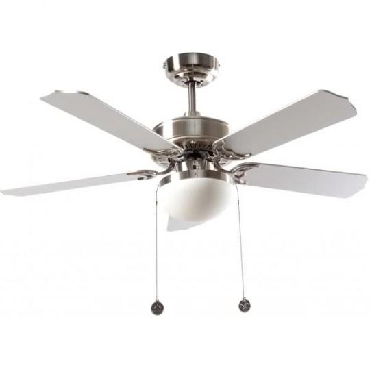 Ventilador 5 aspas Heracles níquel/plata/haya Fabrilamp