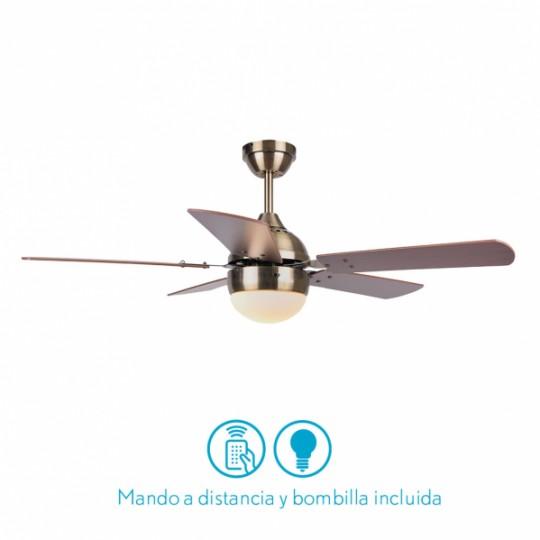 Ventilador 5 aspas Pontia cuero/cerezo/nogal Fabrilamp