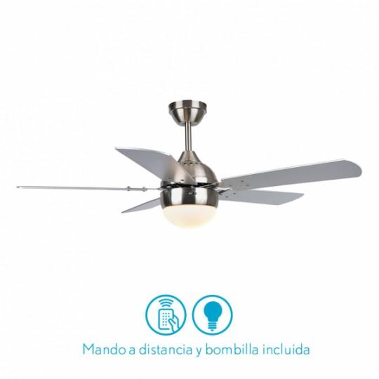 Ventilador 5 aspas Pontia níquel/plata/haya Fabrilamp