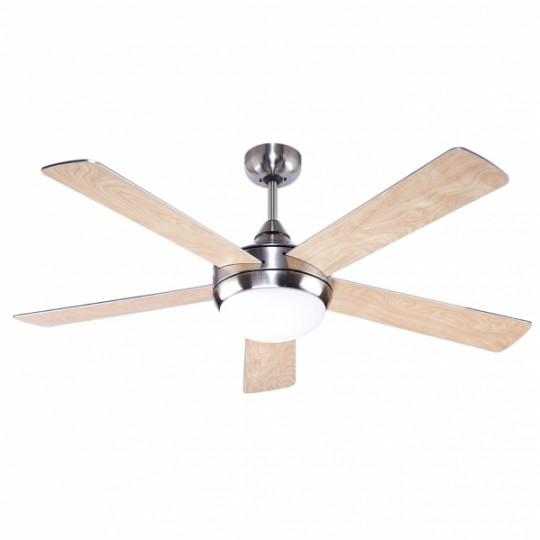 Ventilador 5 aspas Biruji níquel/plata/haya Fabrilamp