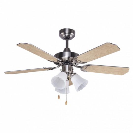 Ventilador 5 aspas Garbin níquel/plata/haya Fabrilamp