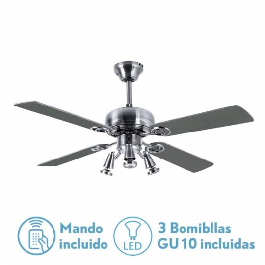 Ventilador 4 aspas Galerna níquel/plata/haya Fabrilamp