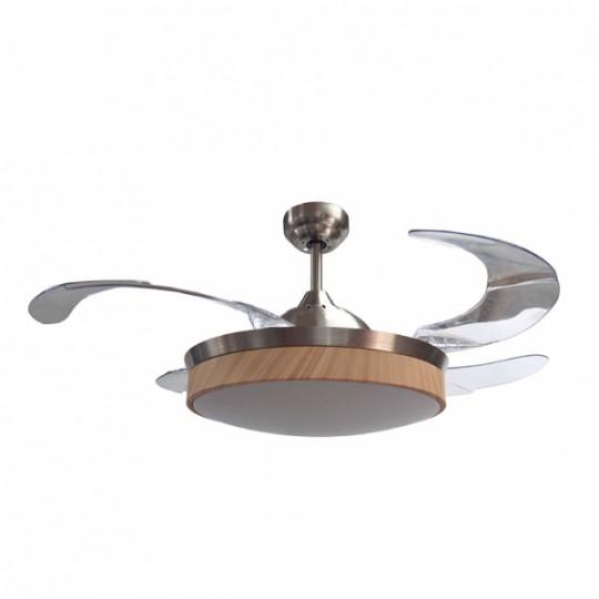 Ventilador Zonda níquel/haya LED 36w 3000/4000/6000K Fabrilamp