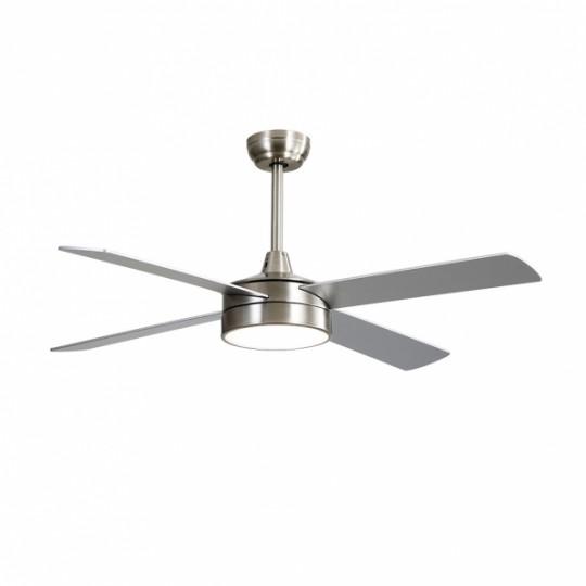 Ventilador 4 aspas Nevery níquel/plata/haya LED 24W 3000/4000/6000k Fabrilamp