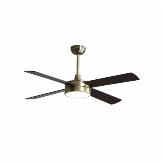 Ventilador 4 aspas Nevery cuer/roble/cerezo LED 24W 3000/4000/6000k Fabrilamp
