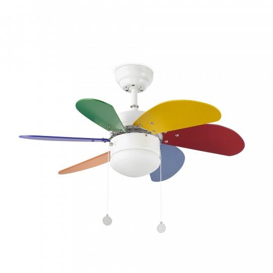 Ventilador con luz 6 palas multicolor Palao Faro