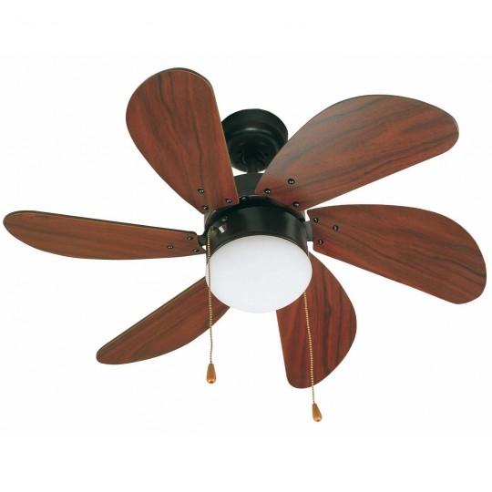 Ventilador con luz 6 palas marrón Palao Faro