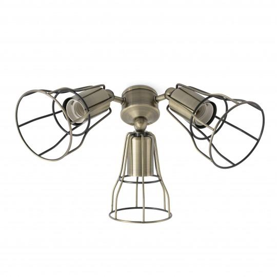 Kit de luz ventilador Yakarta oro envejecido Faro