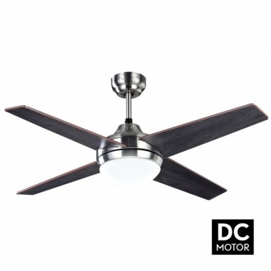 Ventilador 4 aspas Eolo motor DC níquel/wengue/haya Fabrilamp