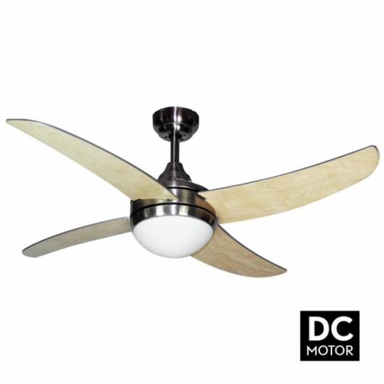Ventilador 4 aspas Osiris motor DC níquel/haya Fabrilamp