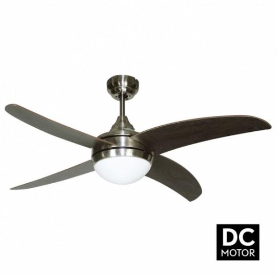 Ventilador 4 aspas Osiris motor DC níquel/wengué Fabrilamp