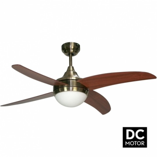 Ventilador 4 aspas Osiris motor DC cuero/cerezo Fabrilamp